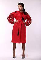 Платье - вышиванка Ясные зори, красный лен, фото 1