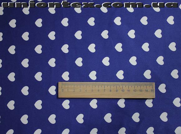Ткань коттон стрейч принт сердечки (от 5 метров), фото 2
