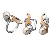 """Набір """"Жемчуг"""" - Кільце і сережки зі срібла 925 проби з золотими вставками, серебряный набор с золотом"""