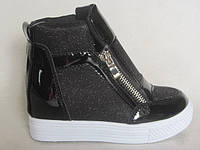 Ботинки сникерсы детские 25-30 черные 463166