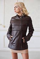 Куртка Lux кожа коричневая в полоску