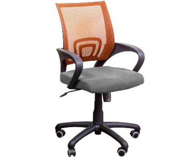 Кресло Веб спинка Сетка оранжевая/сиденье Сидней-27 серый.