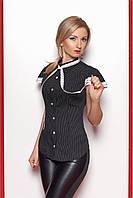 Женская рубашка с коротким рукавом чёрного цвета