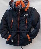 Куртка для мальчика плащевка черная 7-12лет