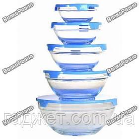 Набор стеклянных емкостей с крышками, 5 шт для хранения продуктов