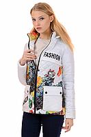 Женская демисезонная куртка 01.169 белый-цветы, 42-50 размер
