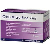 Иглы для шприц-ручек универсальные BD Microfine Plus 0,25 * 5мм (Микрофайн)