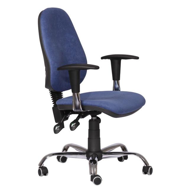 Кресло Бридж Хром Розана-101 синий. Благодаря наличию стильных хромированных элементов кресло придаст современный вид вашему интерьеру.