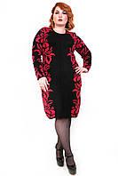 Вязаное платье с красными цветами 16485 р 48,50,52,54