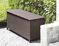 Садовый пластиковый ящик на колесиках большой коричневый из искуственого ротанга