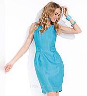 Летнее женское платье голубого цвета из льняной ткани. Модель Lina Zaps.