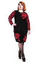 Вязаное платье с красными лилиями 16486 р 48,50,52,54