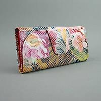 Цветной женский кошелек на кнопке лаковая змея