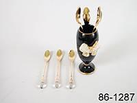 Набор чайных ложек 6 шт с камешком и подставкой Черной из керамики с бантом со стразами Lefard 86-1287