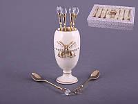 Набор чайных ложек 6 шт с камешком и подставкой Белой из керамики с бантом со стразами Lefard 86-1288