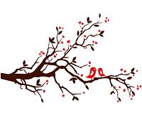 Наклейка на обои Дерево любви с птичками