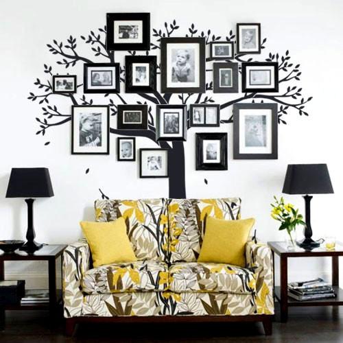 Виниловая наклейка на обои Дерево для фоторамок (интерьерная, самоклеящаяся, дерево для фотографий)
