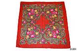 Платок с народным орнаментом красный 140*140 с бахромой, фото 2