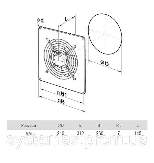 Размеры (параметры) вентилятора ВЕНТС ОВ 2Е 200