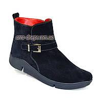 Женские зимние ботинки на низком ходу, натуральная синяя замша