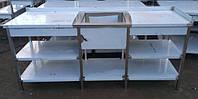 Стол разделочный с мойкой по середине и двумя полками из нержавеющей стали