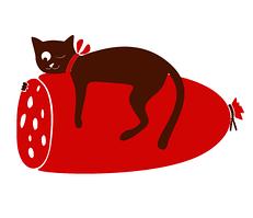 Виниловая наклейка на холодильник Кот и колбасень (пленка самоклеющаяся фотопечать)