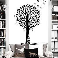 Интерьерная наклейка на обои Дерево музыки (виниловая самоклеящаяся пленка, большие наклейки на стены, оракал)