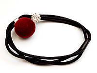 Резинка с бордовым помпоном и кристаллом, фото 1