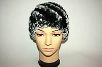 Зимняя женская вязаная меховая шапка , фото 1