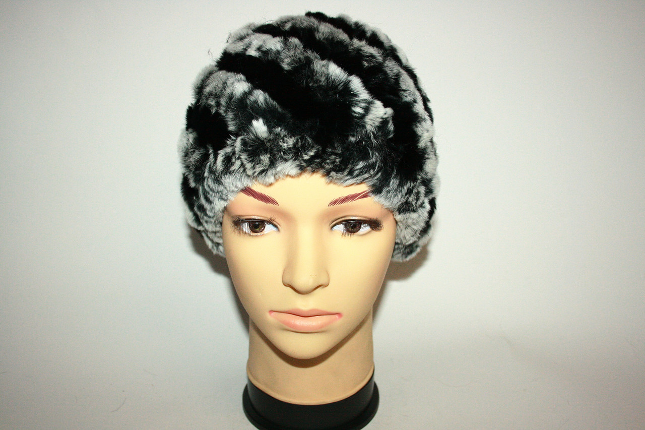 Зимняя женская вязаная меховая шапка
