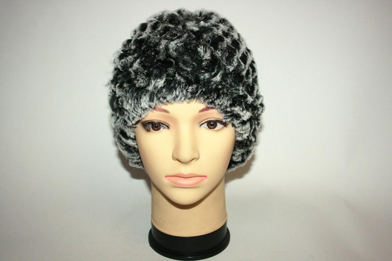 Женская вязаная меховая шапка (натуральный мех)