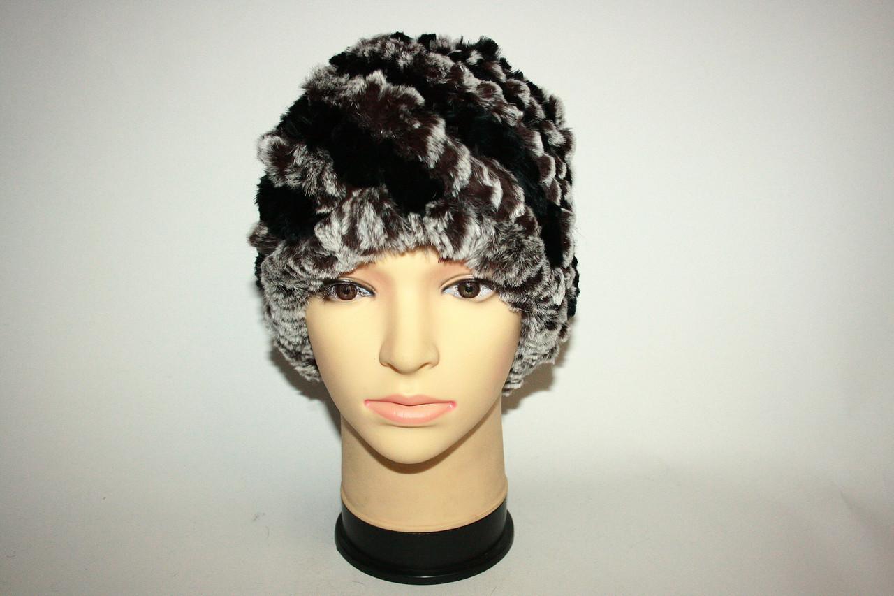 Женская вязаная меховая шапка