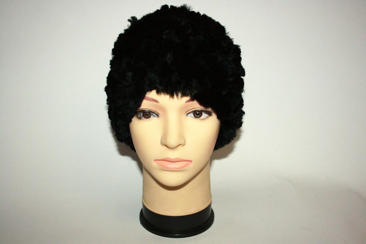 Женская вязаная меховая шапка, цвет - черный