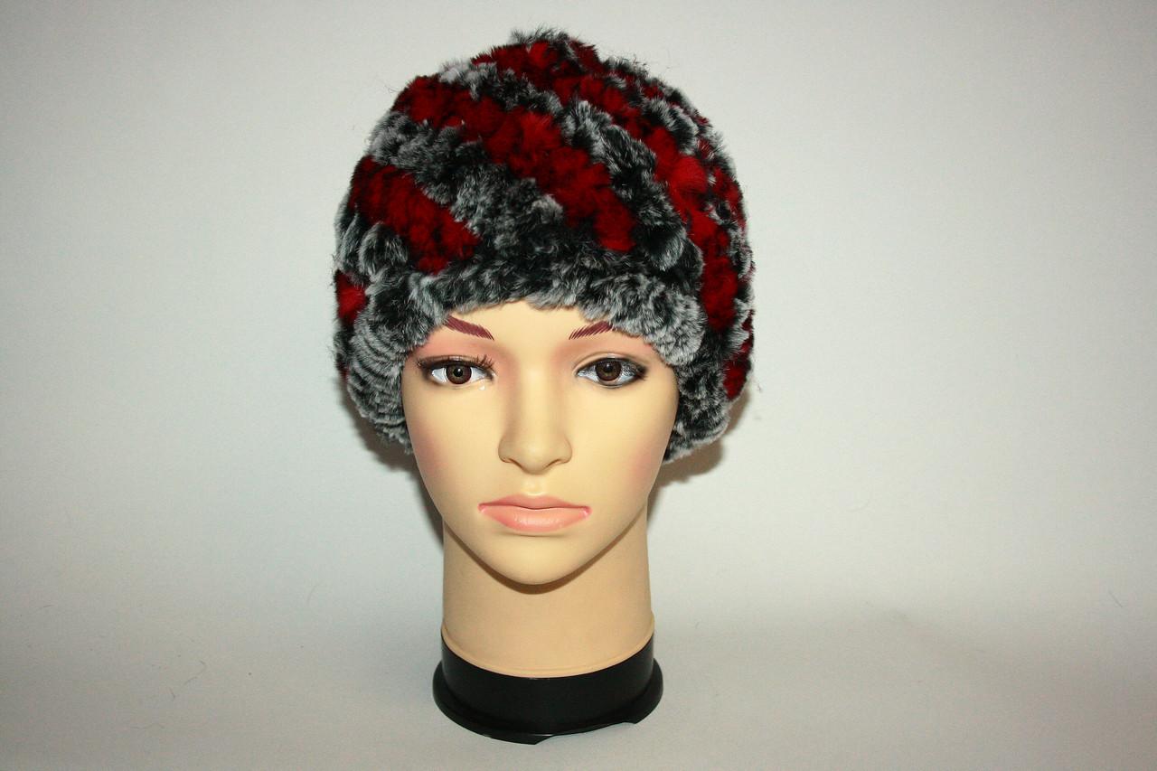 Женская вязаная меховая шапка (зима)