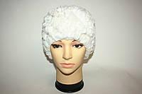 Женская вязаная меховая шапка, белая , фото 1