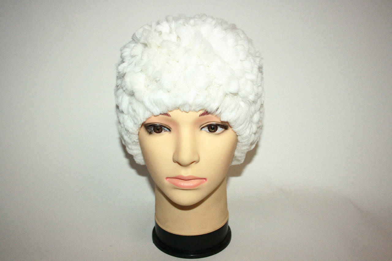Женская вязаная меховая шапка, белая