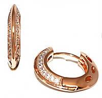 Серьги Xuping, цвет советского золота . Камень: белый циркон.Высота серьги 1,6 см. ширина 3 мм.