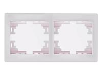 Lezard MIRA Рамка 2-ая горизонтальная б/вст белая