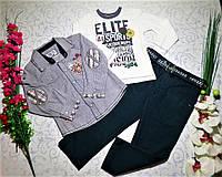 Костюм   для мальчика с РЕГЛАНОМ, рубашкой, брюками   на 3 и 4 года