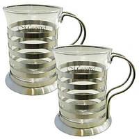 Набор 2 стакана с подстаканниками 200 мл Maestro MR 1664-200