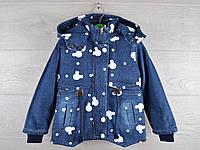 """Куртка детская демисезонная """"Микки"""". 2-7 лет. Модель №866. Джинс с белым. Оптом."""