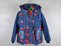 """Куртка детская демисезонная """"Микки"""". 2-7 лет. Модель №866. Джинс с красным. Оптом."""