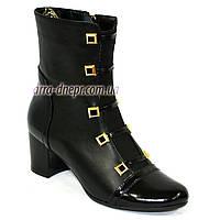 Женские классические зимние ботинки на каблуке, натуральная кожа и лак