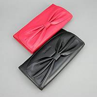 Кошелек черный/красный Prensiti кожаный с бантом