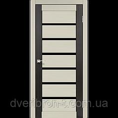 Двери Корфад Porto Combi Deluxe PCD-01 комбинированный дуб беленый / венге черное стекло