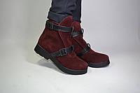 Женские замшевые ботинки с кожаными пряжками. Возможен отшив  в других цветах кожи и замша