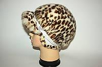 """Женская норковая шапка с козырьком (""""леопард""""), фото 1"""