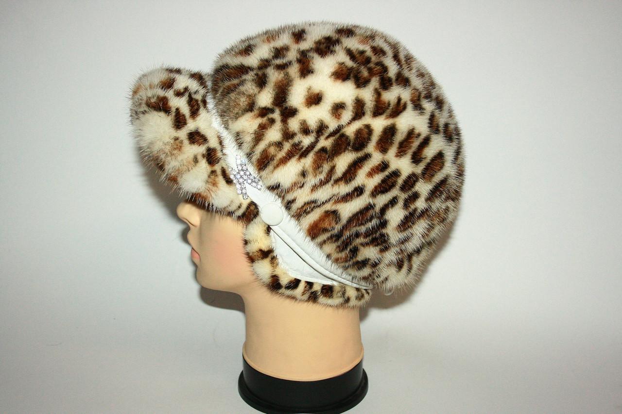 """Женская норковая шапка с козырьком (""""леопард"""")"""