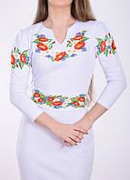 Трикотажное платье вышиванка белое