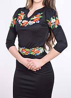 Трикотажное платье вышиванка черное